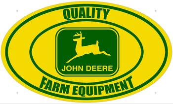 John Deere Quality Farm Equipment Oval Metal Sign