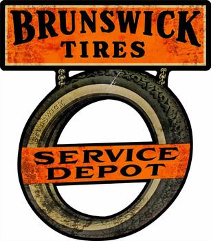 Brunswick Tires Service Depot Cut Out Plasma Metal Sign