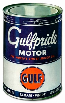 Gulf Motor Oil Can Metal Sign
