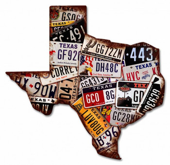 Texas License Plates State Shape Plasma Cut Metal Sign