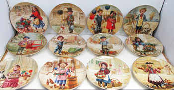 """Little Peddlers"" Complete Set 12 Collector Plates"