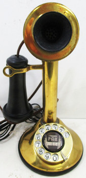 American Telegraph Brass Candlestick / Rotary Dial Circa 1910