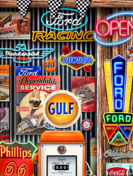 Neon Collage in Man Cave by Michael Fishel Metal Sign
