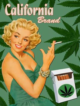 California Brand Marijuana Metal Sign