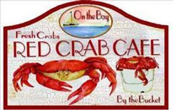 Red Crab Cafe Pub Sign (Set of 6)