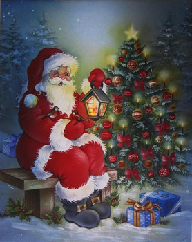Santa Christmas Tree LED Canvas