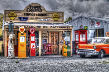 Three Creeks Station and Classic Chevy Metal Sign