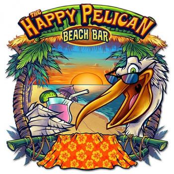 The Happy Pelican Beach Bar Tiki Sign Plasma Cut Metal Sign