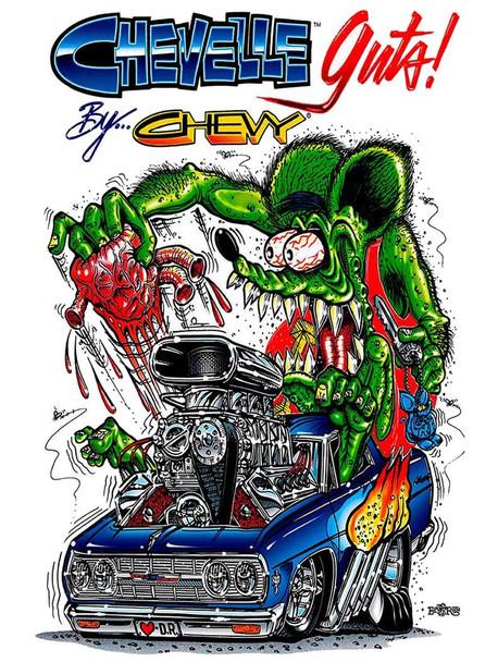 Rat Fink Chevelle Metal Sign