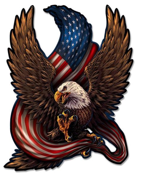 American Eagle and US Flag Plasma Cut Metal Sign