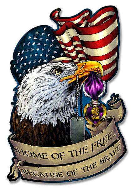 Purple Heart Eagle Plasma Cut Metal Sign