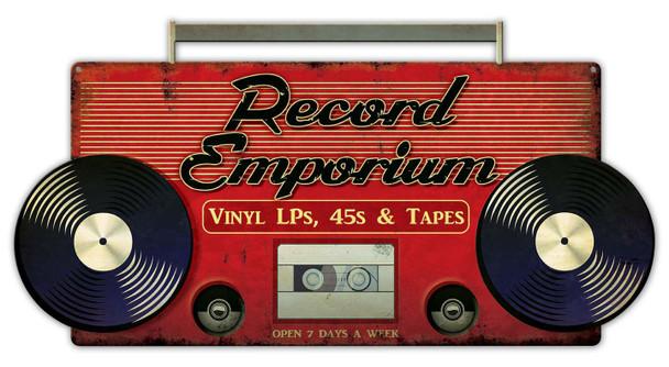 Record Emporium Plasma Cut Metal Sign