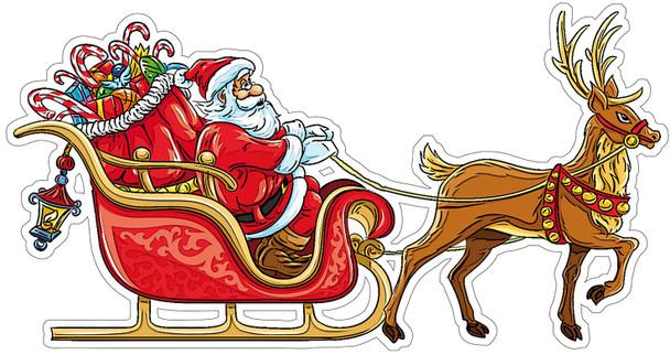 Santa's Sleigh Plasma Cut Metal Sign