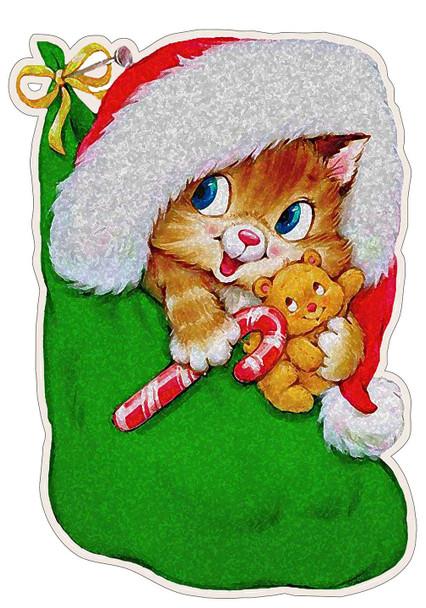 Christmas Kitten in Stocking Plasma Cut Metal Sign