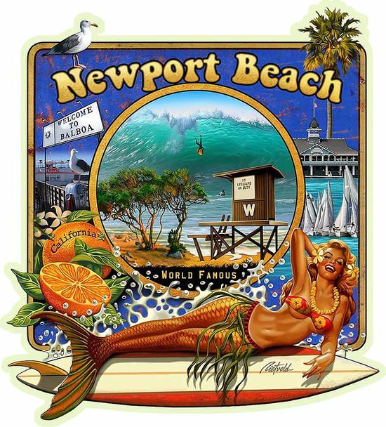 Newport Beach Mermaid Plasma Cut Metal Sign