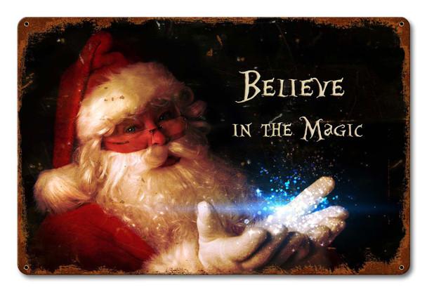 Believe in Magic Santa Metal Sign