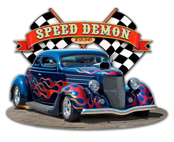 Speed Demon 1936 Blown Coupe Plasma Cut Metal Sign