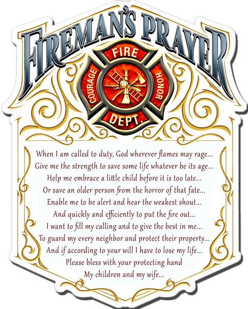 Fireman's Prayer Plasma Metal Sign