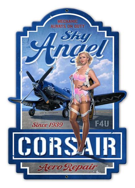 Sky Angel Corsair Aero Repair Metal Sign