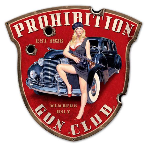 Prohibition Gun Club Shield Plasma Cut Metal Sign