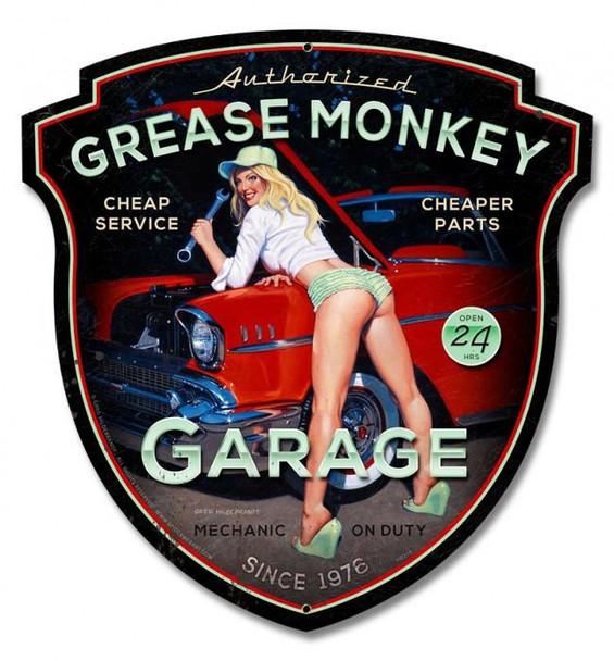 Grease Monkey Pin-Up Plasma Cut Metal Sign