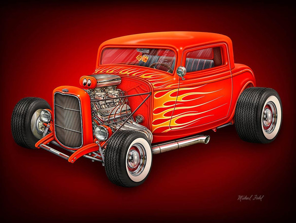 Hot Rod Metal Sign by Michael Fishel