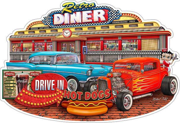 Retro Diner Plasma Cut Metal Sign by Michael Fishel