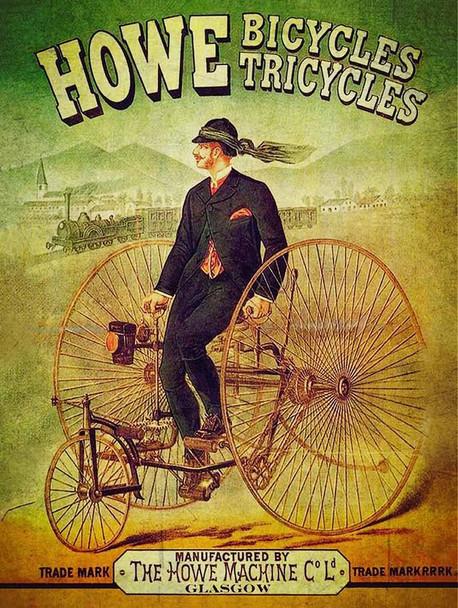 Howe Bicycles Tricycles Vintage  Advertisement Metal Sign