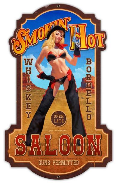 Smokin Hot Saloon By Greg Hildebrandt Plasma Cut Metal Sign