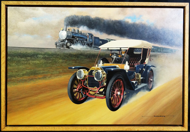 1908 Oldsmobile Brass Era Motor Car Original Oil Painting