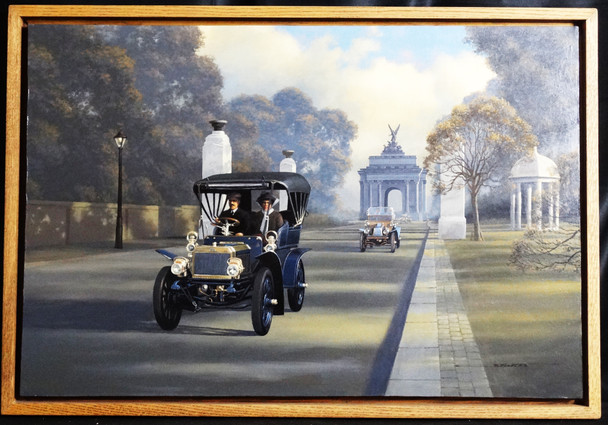 1904 Pierce Arrow Brass Era Motor Car Original Oil Painting