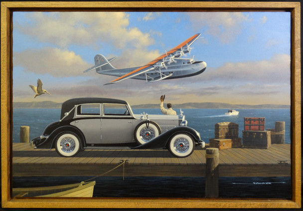 1934 Packard Glasier Motor Car Original Oil Painting