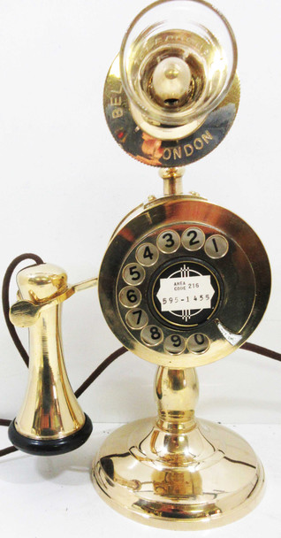 Potbelly Dial Brass Candlestick Telephone Operational