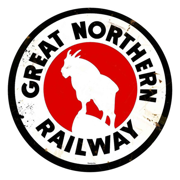 """Great Northern Railway Rustic 14"""" Round Metal Sign"""