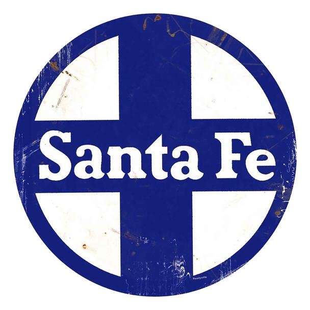 "Santa Fe Railway Rustic 14"" Round Metal Sign"
