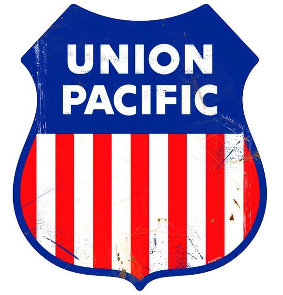 Union Pacific Railway Rustic Shield Metal Sign