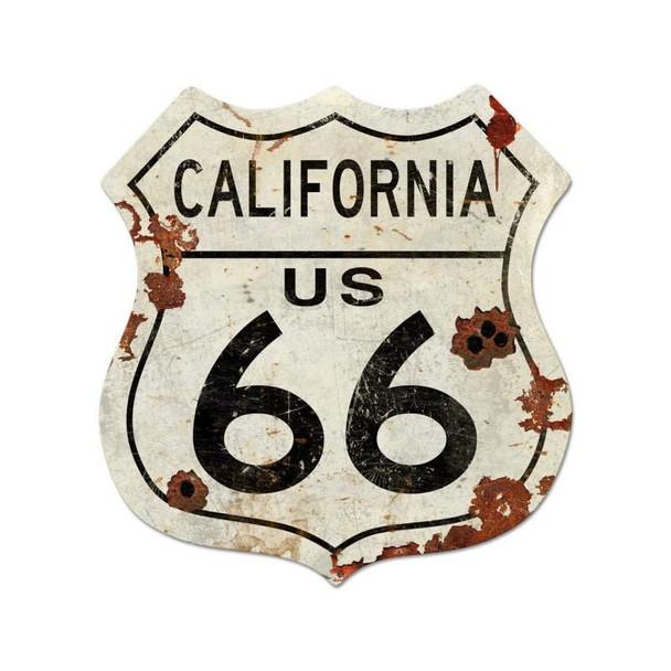 California Rustic Route 66 Shield Plasma Cut Metal Sign