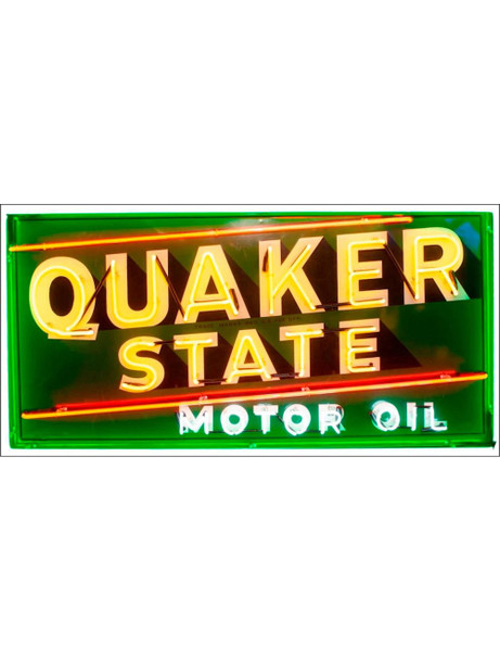 Quaker State Motor Oil Neon Stylized Metal Sign