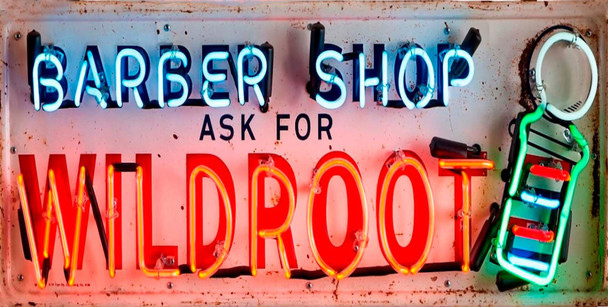 Barber Shop Wild Root Neon Stylized Metal Sign