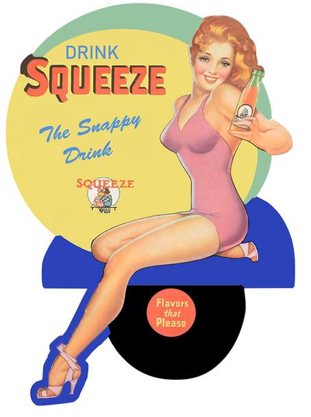 Drink Squeeze Soda Vintage Advertisement Inspired Plasma Cut Metal Sign