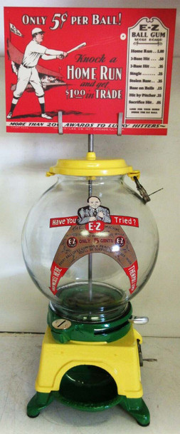 AD-LEE E-Z Gumball Dispenser with Marquee circa 1908 Restored