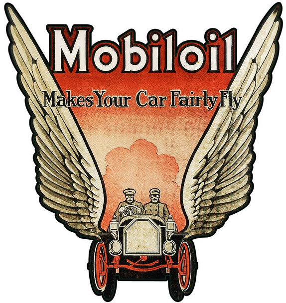 Gargoyle Mobiloil, Mobil Gasoline Oval Metal Sign
