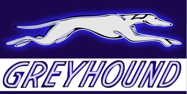 Greyhound Bus Lines Neon Stylized Metal Sign