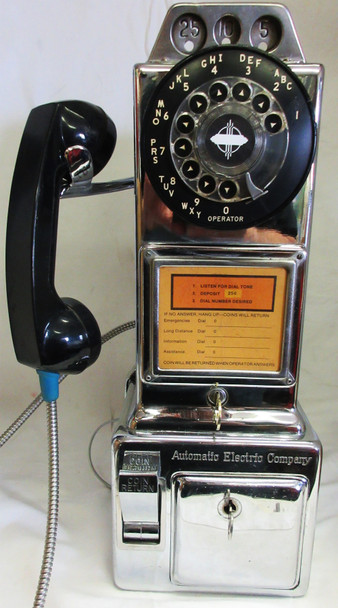 Automatic Electric Chrome Pay Telephone 1950's Fully Restored #2