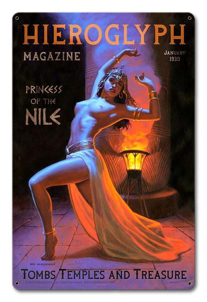 Hieroglyph Magazine , Princess of the Nile Metal Sign By Greg Hildebrandt
