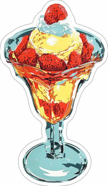 Strawberry Ice Cream Sundae Plasma Cut Metal Sign