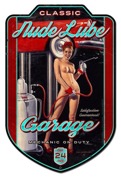 "NUDE LUBE GARAGE Pin-Up Plasma Cut Jumbo Sign 28"" by 18"""