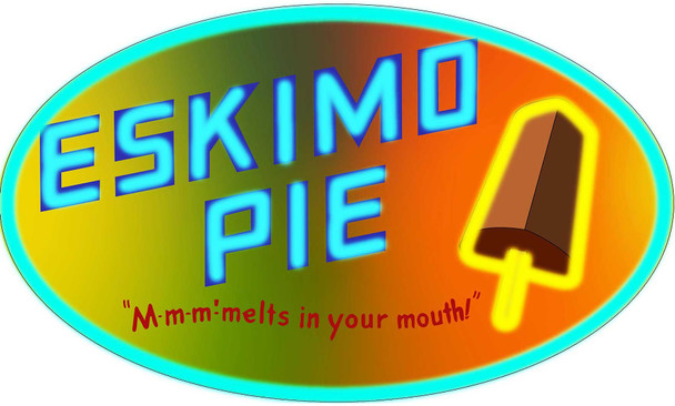 Eskimo Pie Faux Neon Style Oval Metal Sign