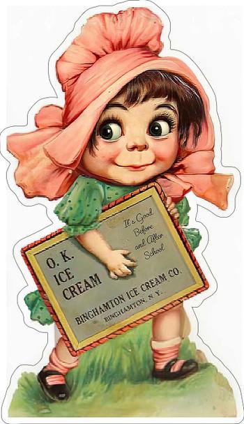 O.K. Ice Cream Vintage Advertisement Metal Sign
