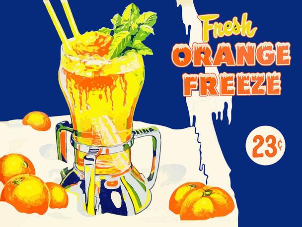 Fresh Orange Freeze Vintage Inspired Advertisement Metal Sign
